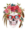 Watercolor human skull in trendy glasses and wreath with flowers and feathers wrapping head