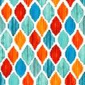 Watercolor ikat seamless pattern. Vibrant ethnic rhombus . Royalty Free Stock Photo