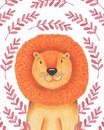 Watercolor illustration animal cute lion on a white background, heart,star,clouds. Hand draw illustration. Valentine`s card. Royalty Free Stock Photo