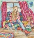 Watercolor illustration of a beautiful blonde big girl in ripped jeans in a small room with children`s toys. Creative concept of