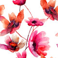 Watercolor illustration with beautiful flowers seamless wallpaper Stock Images