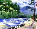 Watercolor illustration of beautiful river