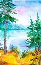 stock image of  Watercolor illustration of a beautiful Russian forest on the lake and yellow grass in the foreground