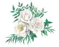 Watercolor illustration of bouquet with roses and peony