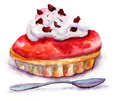 Watercolor illustration cake cream Royalty Free Stock Images