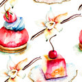 Watercolor illustration of cake seamless pattern Stock Images