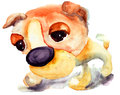 Watercolor illustration cartoon dog Royalty Free Stock Image
