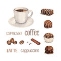 Watercolor illustration of coffee cup illustrations and chocolate sweets Stock Images