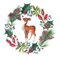 Watercolor illustration of Cristmas wreath with holly and deer.
