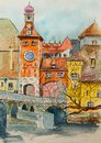 Watercolor illustration with cute houses. Hand drawn European old buildings. Watercolor sketch city landscape