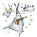 Watercolor illustration, Dancing and singing rabbits.