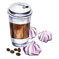 Watercolor illustration with disposable cup of coffee, meringues