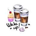 Watercolor illustration with disposable cups of coffee, cupcake