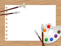 Watercolor illustration of equipments and a blank drawing paper Royalty Free Stock Photos