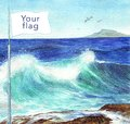 Watercolor illustration flag by the sea. Independence day. Postcard, poster, web.