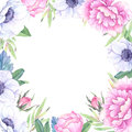 Watercolor illustration. Floral frame with spring flowers. Weddi