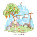 Watercolor illustration girl with cat enjoy summer activities