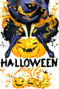 Watercolor illustration Girl witches and Halloween party Royalty Free Stock Photo