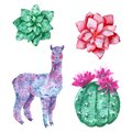 Watercolor illustration: green cactuses, purple fantasy llama and pink flowers