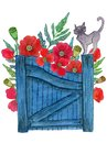 Cat at the gate and flowers behind Royalty Free Stock Photo