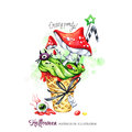 Watercolor illustration. Halloween holidays card. Hand painted waffle cone, Amanitas with poisonous cream and spiders