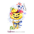 Watercolor illustration. Halloween holidays card. Hand painted waffle cone, pumpkin with blood, eye . Funny ice cream