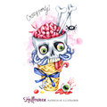 Watercolor illustration. Halloween holidays card. Hand painted waffle cone, skull with brains and worms. Funny ice cream