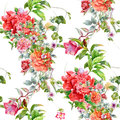 Watercolor illustration of leaf and flowers, seamless pattern