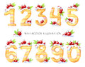Watercolor illustration of numbers from zero to nine. Sweet tasty mathematical symbols. Set of decorative cake with Royalty Free Stock Photo