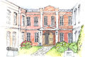Watercolor illustration of an old mansion