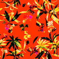Watercolor illustration painting of leaf and flowers, seamless pattern Royalty Free Stock Photo