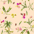 Watercolor illustration painting of leaf and flowers, seamless pattern