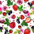 Watercolor illustration, pattern. Berries on white background. Cherries, strawberries, currants, blackberries, gooseberries, pink