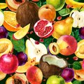 Watercolor illustration. Pattern of watercolor fruit on a dark green background. Coconut, pomegranate, pear, apple, mango, peach,