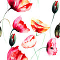 Watercolor illustration of poppy flowers seamless background Stock Photos