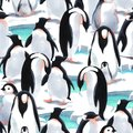 Watercolor seamless pattern witn penguin`s flock on the snow