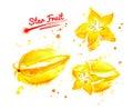 Watercolor illustration of star fruit