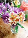 Shabby chic Watercolor illustration of vase of colorful flowers.