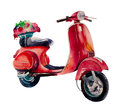 Watercolor illustration vector. Vintage scooter Royalty Free Stock Photo