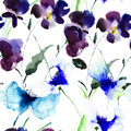Watercolor illustration of violet flowers seamless pattern Royalty Free Stock Image