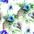 Watercolor illustration of violet flowers seamless wallpaper Stock Image