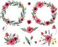 stock image of  Wild flowers wreath