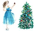 Watercolor illustration of a woman with a ball decorating a Christmas tree isolated on white background