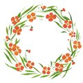 Watercolor illustration wreath , leaves , orange flowers small Royalty Free Stock Photo