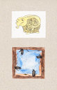 Watercolor illustrations of animal themes sheep ram frame that is easy to write your own informations Royalty Free Stock Photos