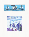 Watercolor illustrations of sea themes underwater scene with life scene with transport Stock Photography