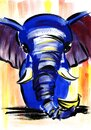 Watercolor image of bright blue elephant with long wrinkled trunk, smart eyes and white tusks. Hand drawn illustration of funny Royalty Free Stock Photo