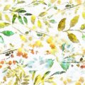 Watercolor Image Hand Drawn Boho Spring Imprints Herbs Flowers And Leaves Abstract And Digital