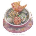 Watercolor Indonesian Culinary bakso food
