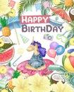 Watercolor isolated cute colorful unicorn clipart. Nursery unicorns illustration. Princess unicorns poster. Trendy pink cartoon Royalty Free Stock Photo